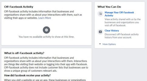 Facebook Off-Facebook Privacy Tool landing page