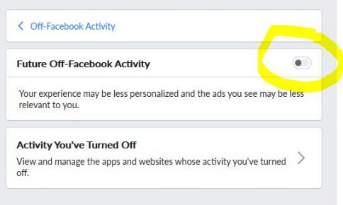 Facebook Off-Facebook Privacy future activity turned off