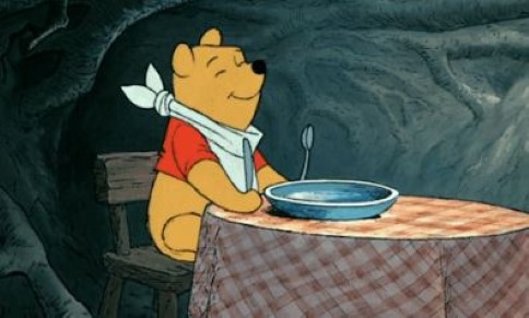 winnie the pooh ready to relish dinner
