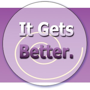 "KK's Purple ""It Gets Better"" button with swirl"