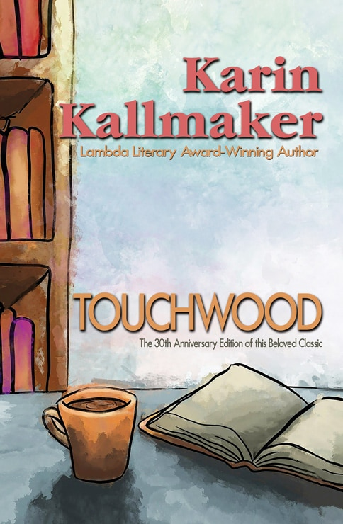 book cover Touchwood 30th Anniversary Edition hand drawing of a book, coffee mug and bookshelves