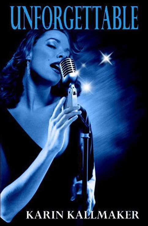 jazz singer in blue with microphone