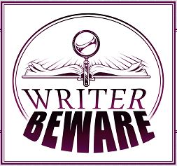 book, maginifying glass, Writer Beware logo