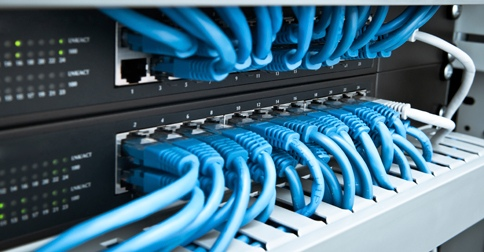 rows of high speed computing connections