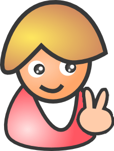 Female figure flashing peach sign