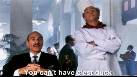 Patrick Stewart in LA Story snooty maitre d' says You can't have c'est duck