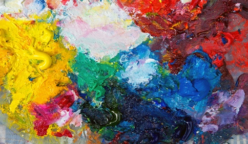 artist's palette with abstract vivid colors and paint